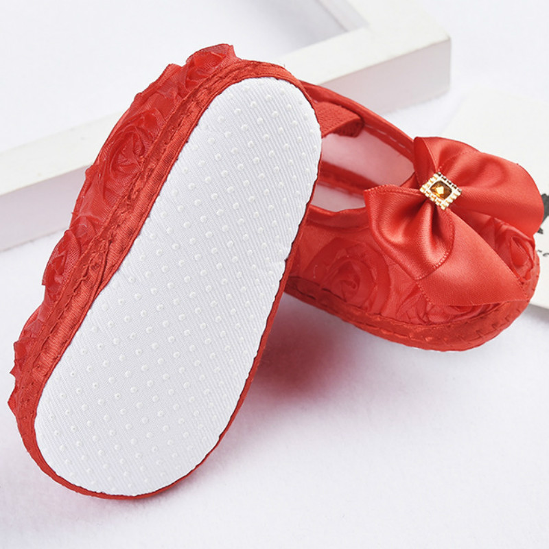 Baby Girl Shoes Ribbon Bow First Walkers Princess Baby Shoes Rose Flowers Bow Newborn Soft Anti-slip for infant Girls 5
