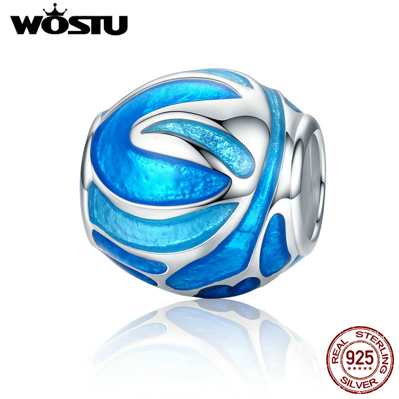 WOSTU New 925 Sterling Silver Fireworks Sky Blue Enamel Charm Beads fit original WST Bracelets Bangles Fine Jewelry CQC305