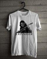 Marca de Roupas casuais de Algodão Regular John Mayer Acústico de Rock Cantor Americano Homens Curto O-Neck Camisetas