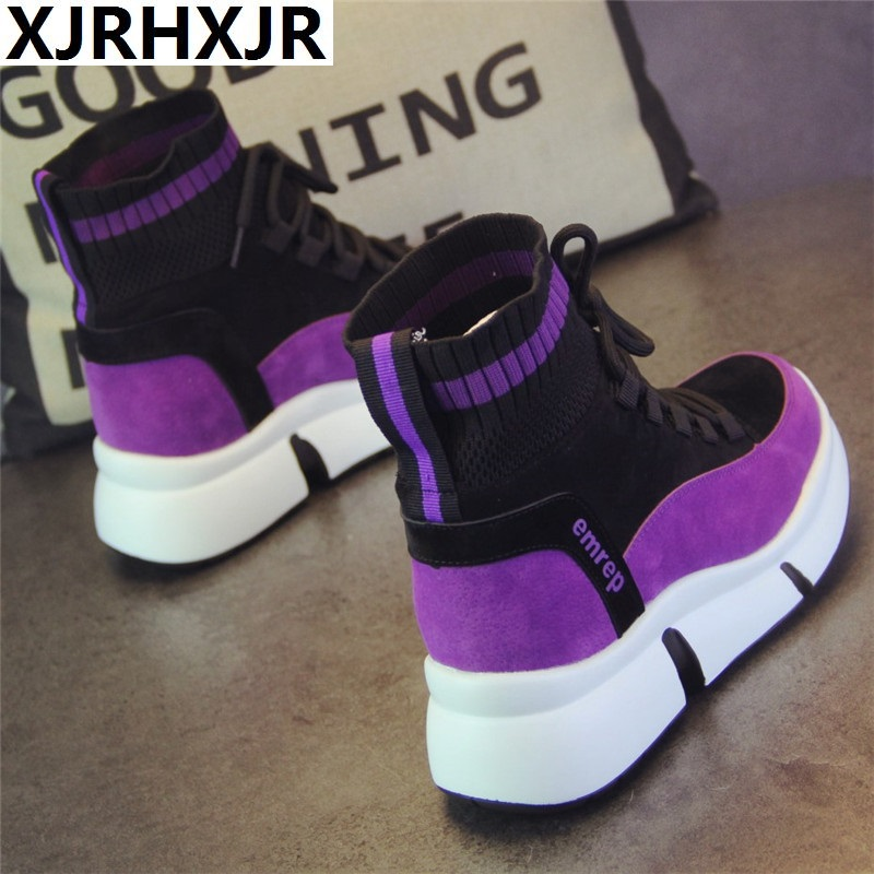 XJRHXJR Brand Shoes Women Designer Sneakers Casual Shoes 2019 High Top Women Flats Footwear Walking Shoes Vulcanized Shoes 40