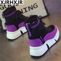 XJRHXJR Brand Shoes Women Designer Sneakers Casual Shoes 2019 High Top women flats Footwear Walking Shoes Vulcanized Shoes
