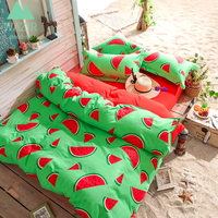 WAZIR Fruit Printing Bedding Set 3/4pcs Bed Linen Duvet Cover Pillowcases Bed Sheet Bedromm Decor Home Textile Bedclothes