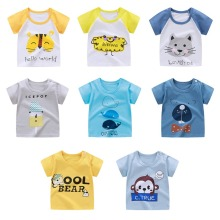 Хлопковая футболка с младенцем, повседневные футболки, топы, одежда для мальчиков, Рубашка летняя футболка для маленьких мальчиков детская одежда с короткими рукавами и мультяшным принтом