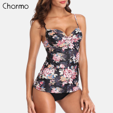 Charmo Women Retro Floral Print Tankini Set High Waist Swimsuit Swimwear Women Tankini Vintage Bikini Set Bathing Suit Bikini