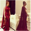 New Arrival Elegant Burgundy Red Satin Chiffon Simple Mermaid Floor Length With Wraps Formal Long Evening Dresses Custom