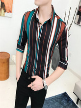 2019 Summer New Men's Sleeve Shirt Men's Social Bar Nightclub Guy Hair Stylist Striped Print Shirt свитшот print bar future