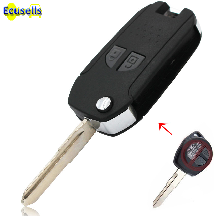 NEW Metal Side Folding Flip Remote Key Case Shell For SUZUKI SX4 Swift Vitara Liana Jimny Aerio 2 Button