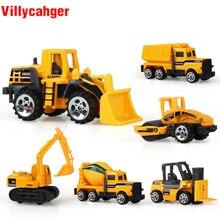 6 tipos/set mini Diecast liga veículo de construção Modelo de Carro Engenharia Caminhão Dump-carro Clássico Brinquedo Mini presente para o menino