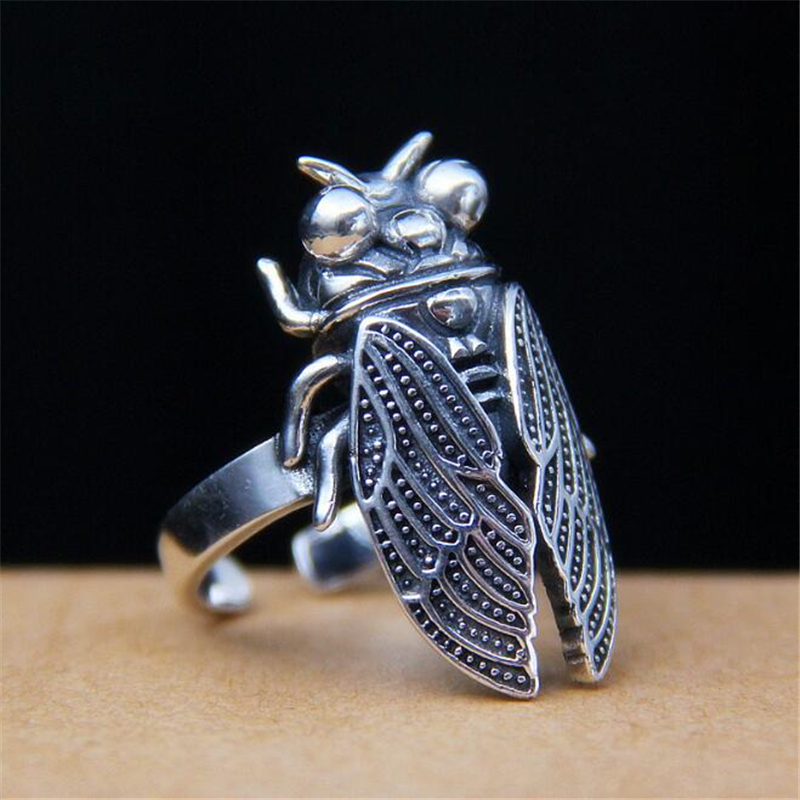 Funny Cicadas Insects Rings for Women Vintage 925 Sterling Silver Adjustable Size Punk Jewelry Finger Ring