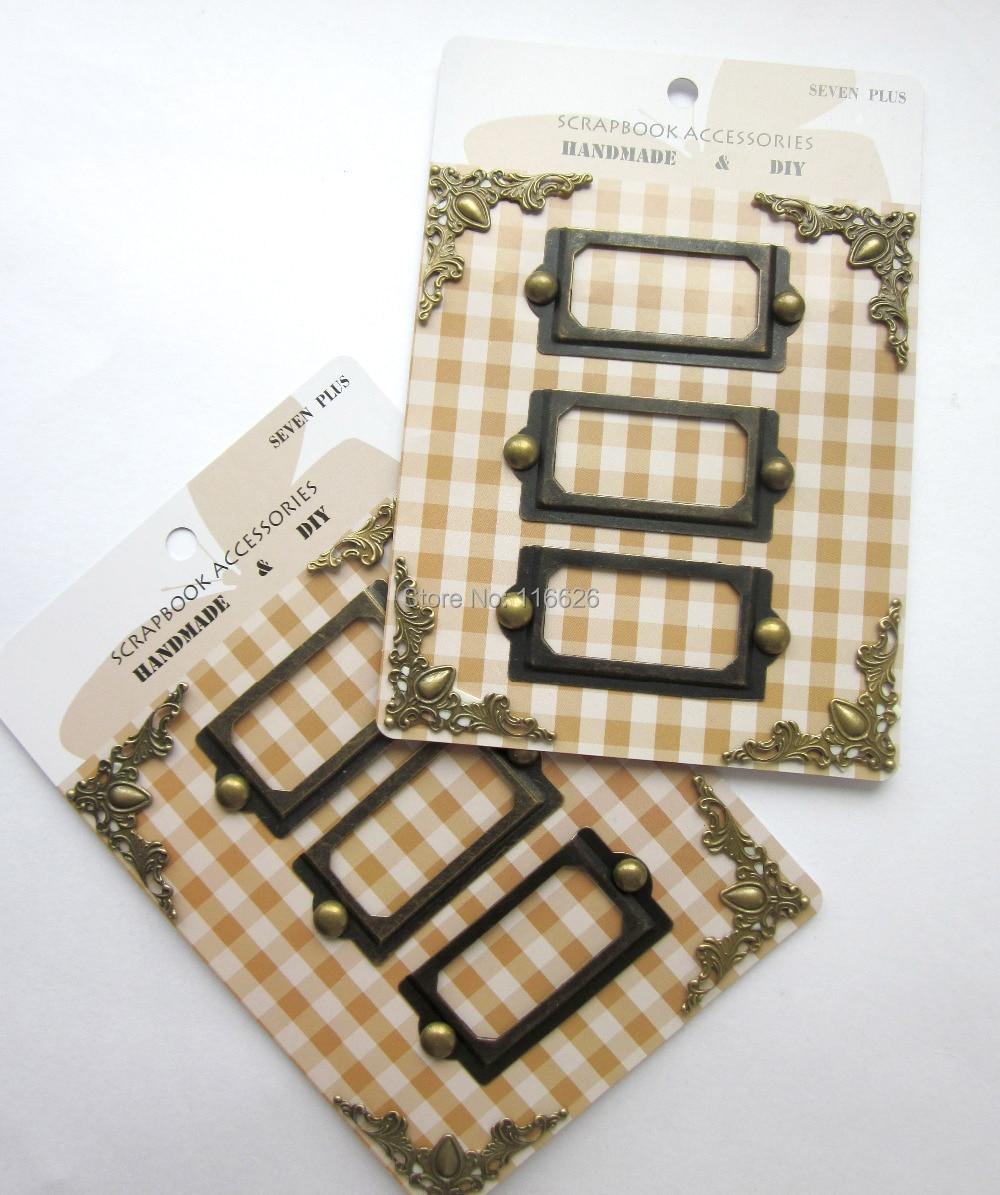 6 karet / lot scrapbooking dekorace pokovené kovové rámové - Umění, řemesla a šití