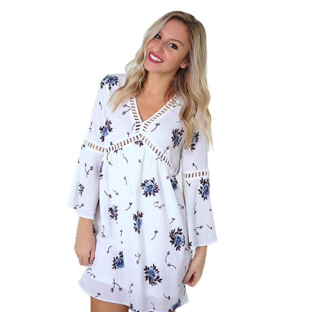 2017 new fashion spring summer women elegant Dress Flare Long Sleeve Floral Print Women Chiffon V Neck Loose Mini Dress #63