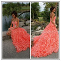 Stunning 2015 Coral Prom Dresses Crystal Beaded Sleeveless Short Front Long Back Organza Chapel Ruffled Train Skirt Gowns