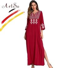 ArtSu Women Vintage Embroidery Dress Vestidos Elegant Long Sleeve Tunic Casual Maxi Dress Ladies Ethnic Dress Wine Red Plus Size