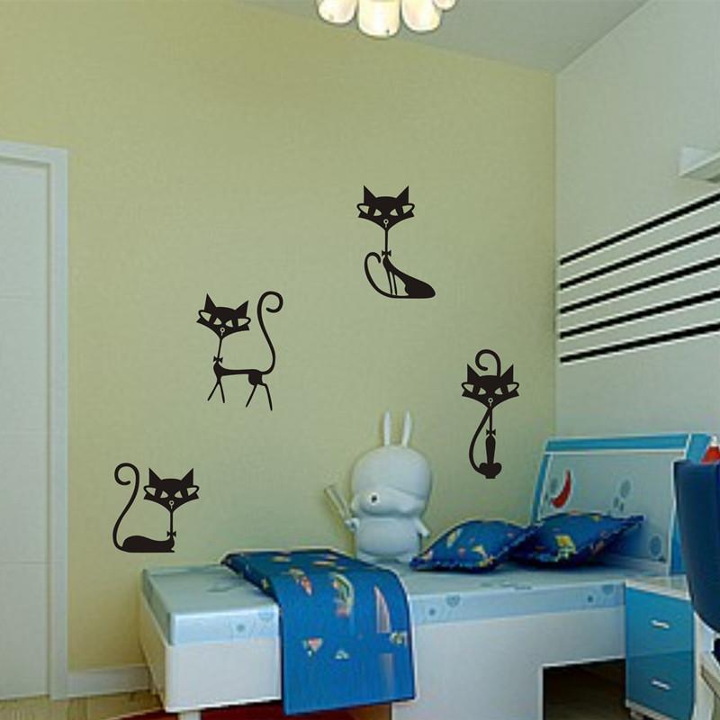 HTB1fmcWKXXXXXcBXXXXq6xXFXXXt - 4 Black Fashion Cat Stickers For Kids Rooms
