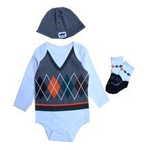 Cute Animal Print Long Sleeved Baby Rompers+Hat+Socks Set