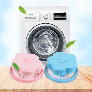 Pływające styl pranie artefakt kula do prania kwiat kształt siatki filtr worek pływający Lint wyłapywacz włosów brud złapać pralka tanie i dobre opinie JosheLive HG103971 Sanitarnych Blue Pink Orange Green Polyester + PE+EVA