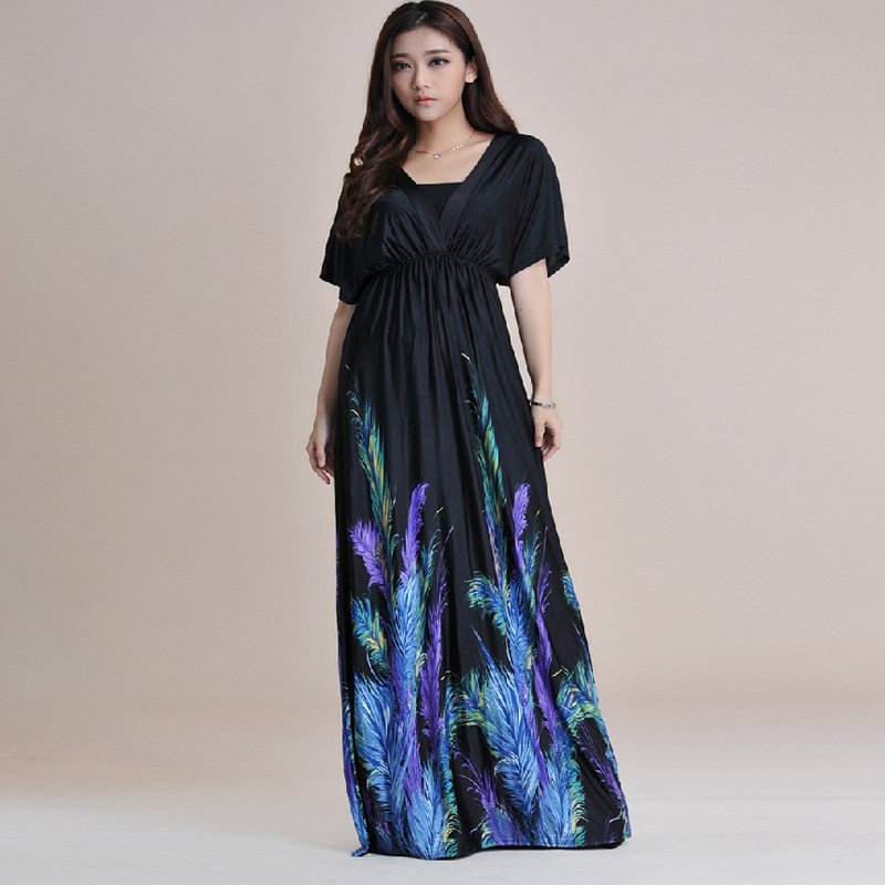 High-waisted dress Bohemian Print Maternity Dresses High Street V-Neck Floral Printing Bohemia Long Beach Women Dress Plus Size