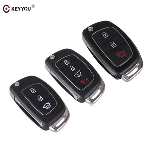 KEYYOU 3/4 Buttons Flip Folding Remote Key Fob Shell Case For Mistra Hyundai HB20 SANTA FE IX35 IX45 Accent I40 Uncut Blade Fob