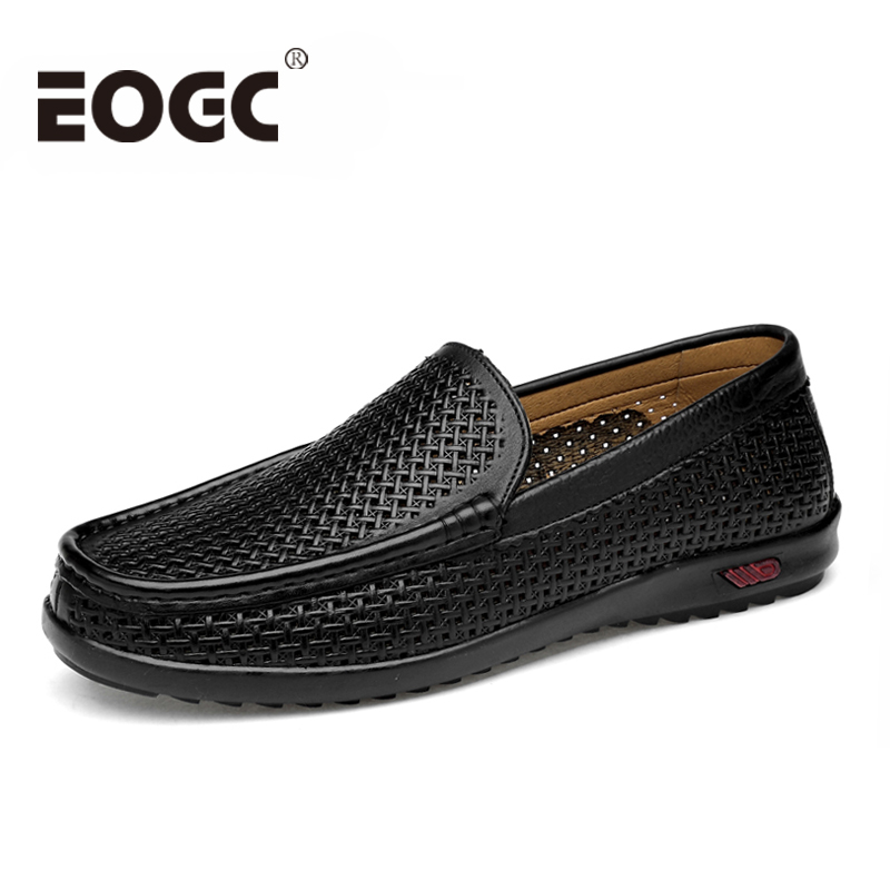 Summer Men loafers Genuine Leather men shoes 2018 Fashion Handmade Casual Shoes Male Moccasins For Men Leather Flat Shoes 38-47 2018 spring genuine leather loafers men casual shoes lace up luxury fashion male handmade moccasins driving footwear xxz5