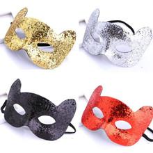 Nowe dzieci złoto w proszku twarz kota maska śmieszne rekwizyty na przyjęcia maski na maskaradę sukienka na przyjęcie urodzinowe dekoracje świąteczne tanie tanio Unisex Kostiumy Animal Other MA57