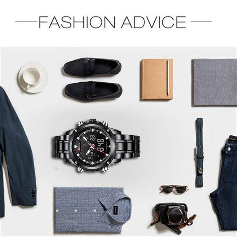 BIDEN TOP marque de luxe hommes montre Sport montres pour hommes numérique Quartz affaires bande en acier étanche horloge Reloj Hombre - 4