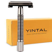 1 Holder + 5 PC Blades Men Shaving Double Edge Safety Razor Manual Classic Gunmetal Alloy Barbeador Cuchillas De Afeitar