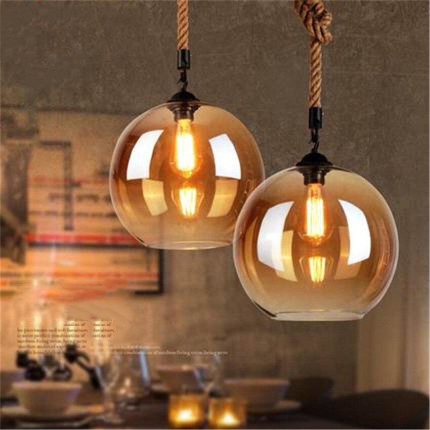 American style Retro Hemp Rope Pendant Lamp Restaurant bar decorating Hanging Lamp Originality Couture Glass Pendant Light