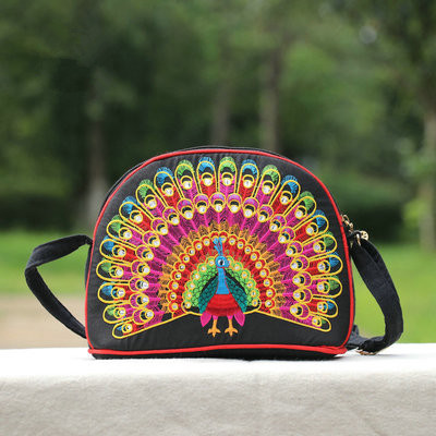New All-match Peacock Embroidered bags!Fashion Women travel phone/makeup bag Small cross-body Lady's shoulder bag party holder