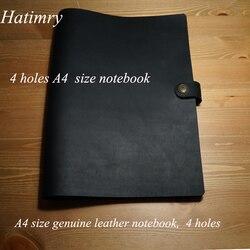 Hatimry cuero genuino A4 tamaño 4 agujeros diario cuaderno sketh libros Bloc de notas para negocios vintage karft suministros escolares de cuaderno