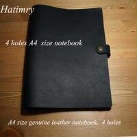 Hatimry notebook jornal de couro Genuíno tamanho A4 4 furos sketh karft livros bloco de notas para o negócio do vintage notebook material escolar