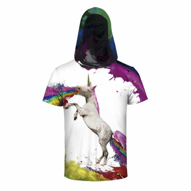 3D американский флаг, флаг США единорог Печать с капюшоном футболка для мужчин 2019 лето новая толстовка с коротким рукавом Футболка Мужская s хипстерская рубашка хип-хоп Homme