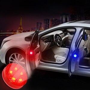 Image 4 - 2X אוניברסלי רכב LED פתיחת דלת בטיחות אזהרה נגד התנגשות אורות פלאש אור אדום ערכת אלחוטי מעורר מנורת אות אור