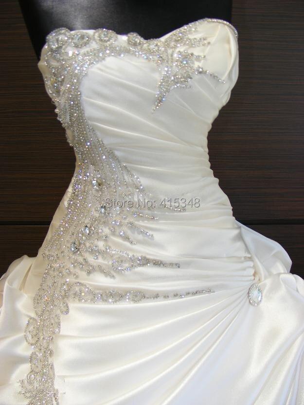 Luxury White or ivory Strapless Sparkly Beading Rhinestone Wedding