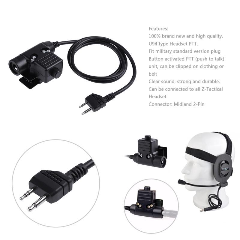 Z-Tactique U94 PTT Casque Câble 2-Pin Plug Talkie Walkie Câble Adaptateur Pour Midland G6 G7 GXT760 pour Nautico 1 3 Série Radio