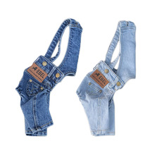 2018 Denim Jumpsuit for Dogs for Small Dogs Dyr Klær Alle Match Jean Suit For Chihuahua Pug Sommerhund Kostyme For Valp S-XXL