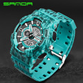 SANDA Dual Movement Sports Watches Men Electronic Digital Analog Shockproof Silicone Line Watches Waterproof Wristwatches