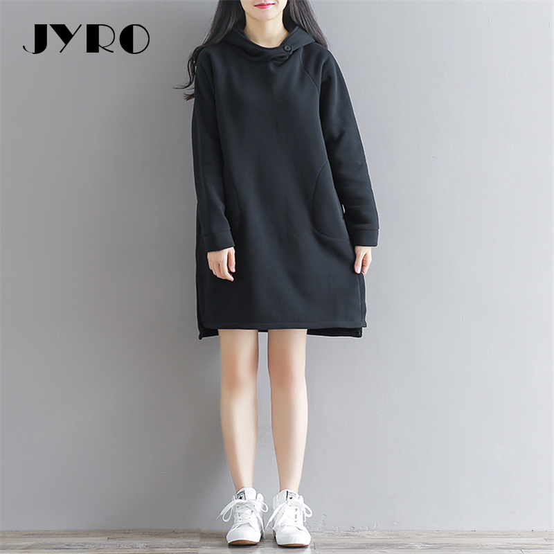 JYRO Brand Mori Women s Dresses The New Winter Hooded Long Loose Large Size Knee Length