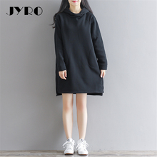 JYRO Brand Mori Women's Dresses The New Winter Hooded  Long Loose Large Size Knee Length Long Sleeved Cashmere Sweater Dress