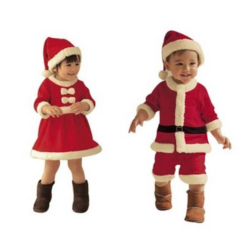 Children dressed up as Santa Claus costumes for their children Christmas costumes