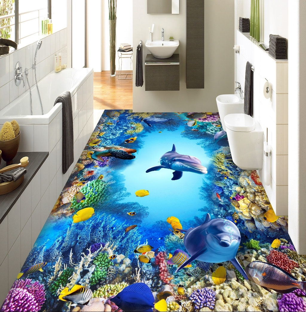 3d Stereoscopic Mural Wallpaper Large 3d Wall Stickers Underwater World Dolphin 3d