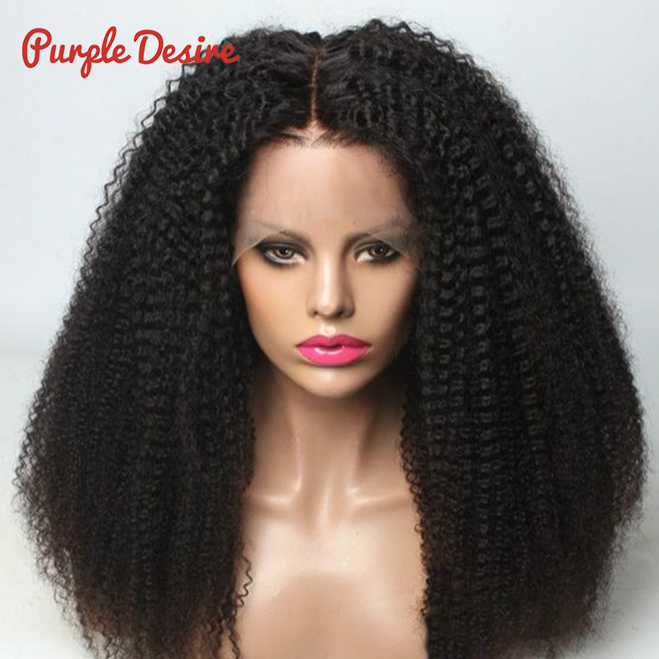 Human Hair Wigs Kinky Curly Lace Front Wigs Natural Balck Color 1B Brazilian Remy Hair Wig