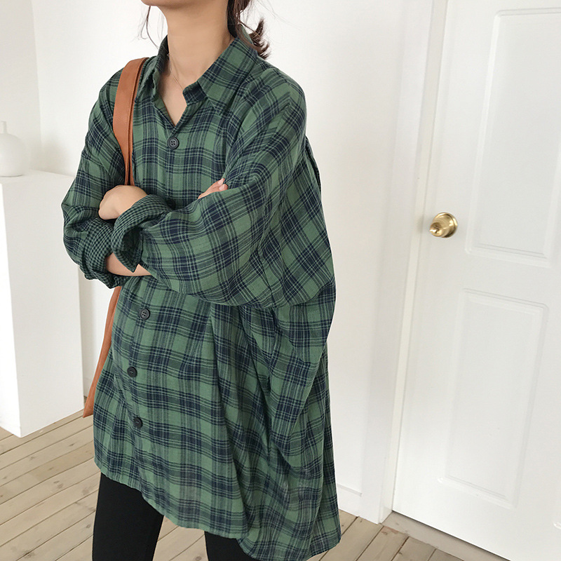 Maternity Women Spring Autumn Blouses Long Sleeve Mid long Plaid Shirts New Moms Fashion Loose Korean Style Top Clothes|Blouses &  Shirts|   - title=