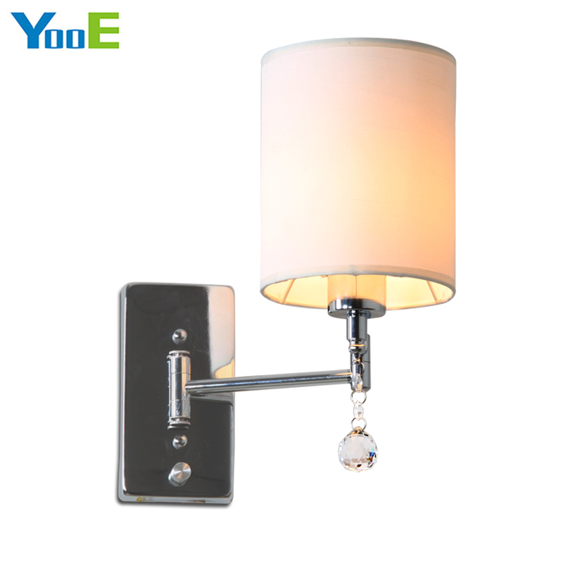 YooE Indoor lighting iron wall lamps AC 110V/220V E27 Cloth Lamp Shade Modern Rotation Angle wall lights for bedroom цена