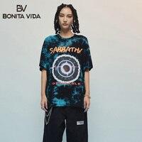 Tie Dyeing Letter Print Streetwear Oversized t shirt Women Clothes 2019 Summer Harujuku Cotton Hole Hip Hop Tee Shirt Femme