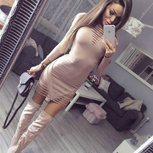 2018 New Fashion Lady Sexy Hollow Out Dress Long Sleeve Bandage Bodycon Evening Party Club Wear Pencil Short Mini