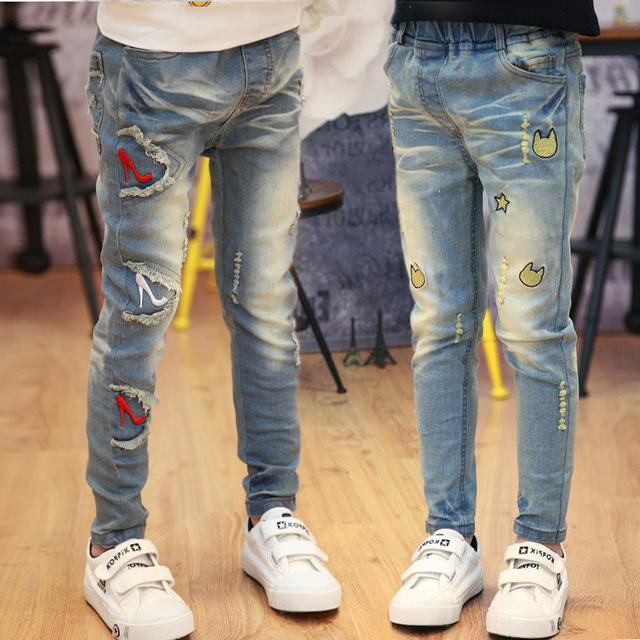 Spring Kid girl Cartoon Jean's Baby Cartoon Denim Pants Casual Old Style Girls Trousers for 4-5-6-7-8-9 Years Old Girl 0207