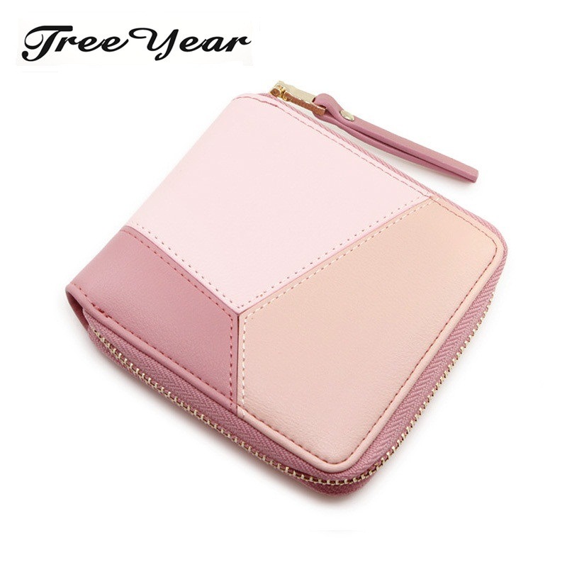 TreeYear Patchwork Fashion Elegant Pu Leather Wallet Brand Female Women Purse Card Holders Small Wallet Women Zipper Coin Purse