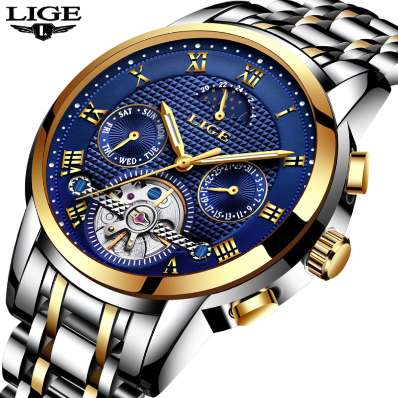 LIGE Mens Watches Top Brand Luxury Fashion Business Casual Watch Men Stainless Steel Waterproof Automatic Mechanical Watch+Box lige mens watches top brand luxury fashion business casual watch men stainless steel waterproof automatic mechanical watch box