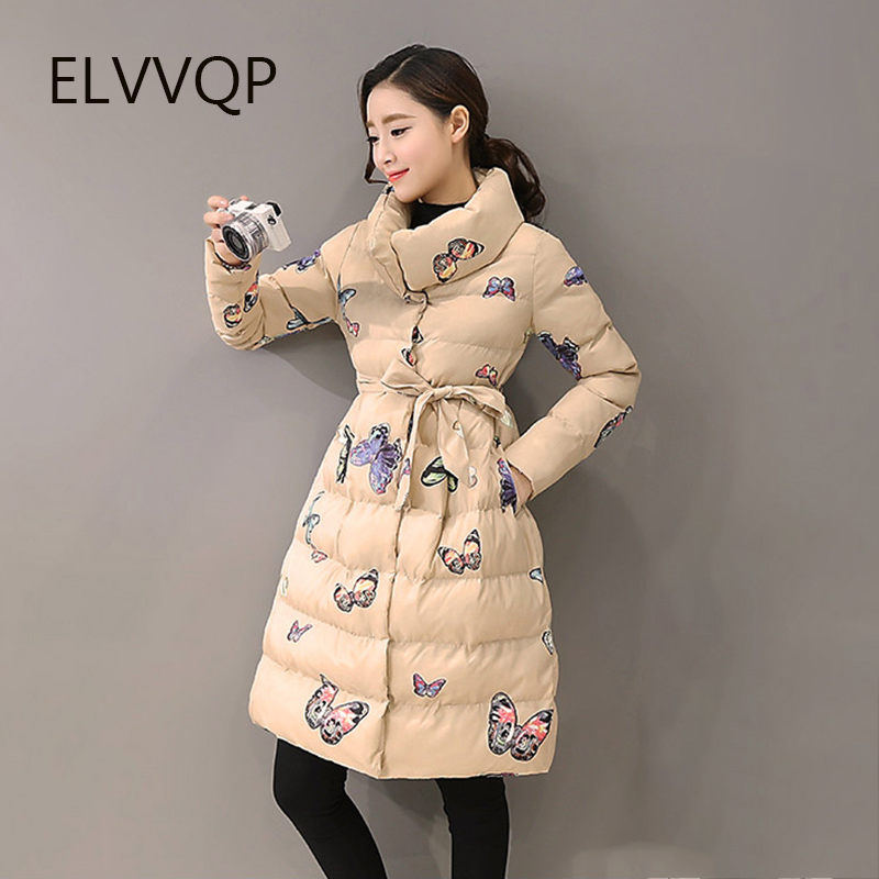 Womens Winter Cotton Jacket 2018 New Fashion long paragraph printing outerwear thick warm   Parka   Female Overcoat LF088