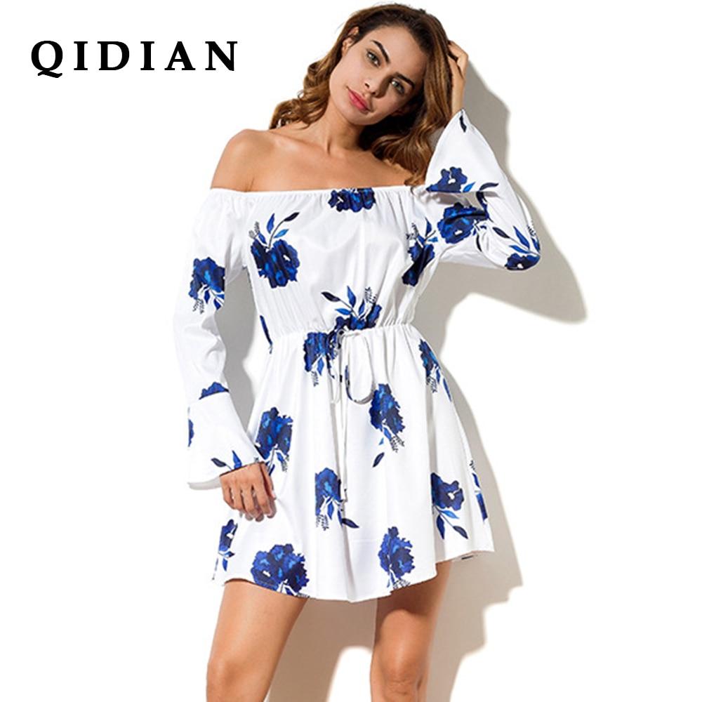 QI DIAN 2017 Hot new one word collar printing loose sexy fashion section dress High waist Long sleeve beach women dress Y-06